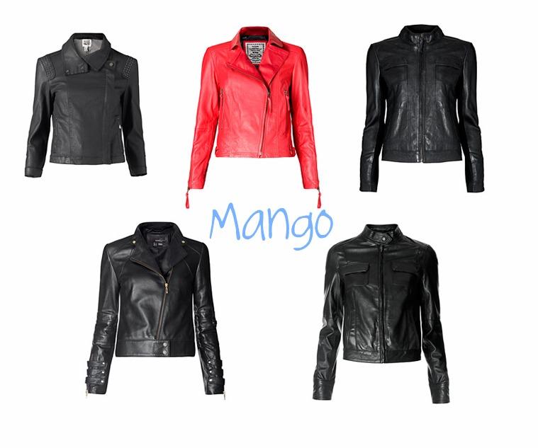Chaqueta de piel negra mango
