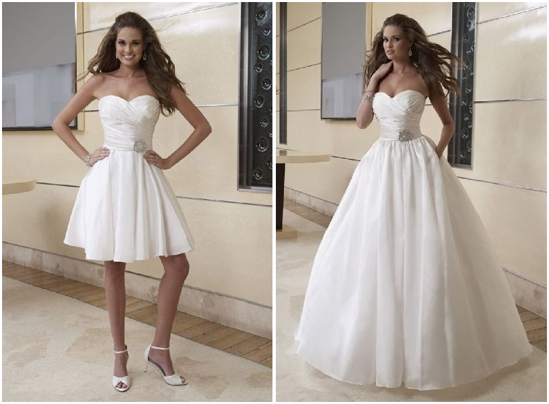 Taffeta Strapless Sweetheart Ball Gown 2 In 1 Wedding Dress
