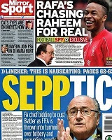 Real Madrid's interest in Raheem Sterling features  on the back page of Thursday's Daily Mirror