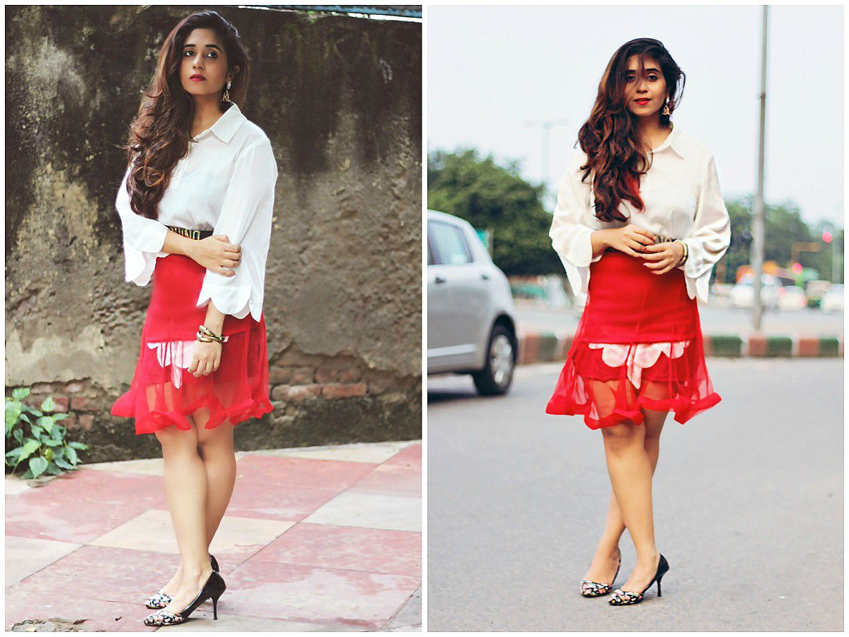 indian fashion bloggers, white shirt, sheer skirt