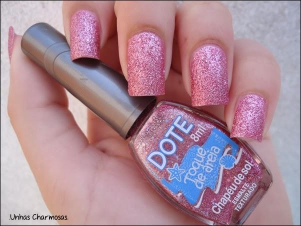 liquid sand, efeito areia, textura areia, emalte texturizado, Chapéu de Sol, Dote, Toque de Areia, rosa, liquid sand nacional, Unhas Charmosas