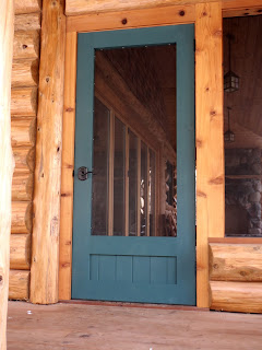 simple solid cedar screen door, green, built by john huisman