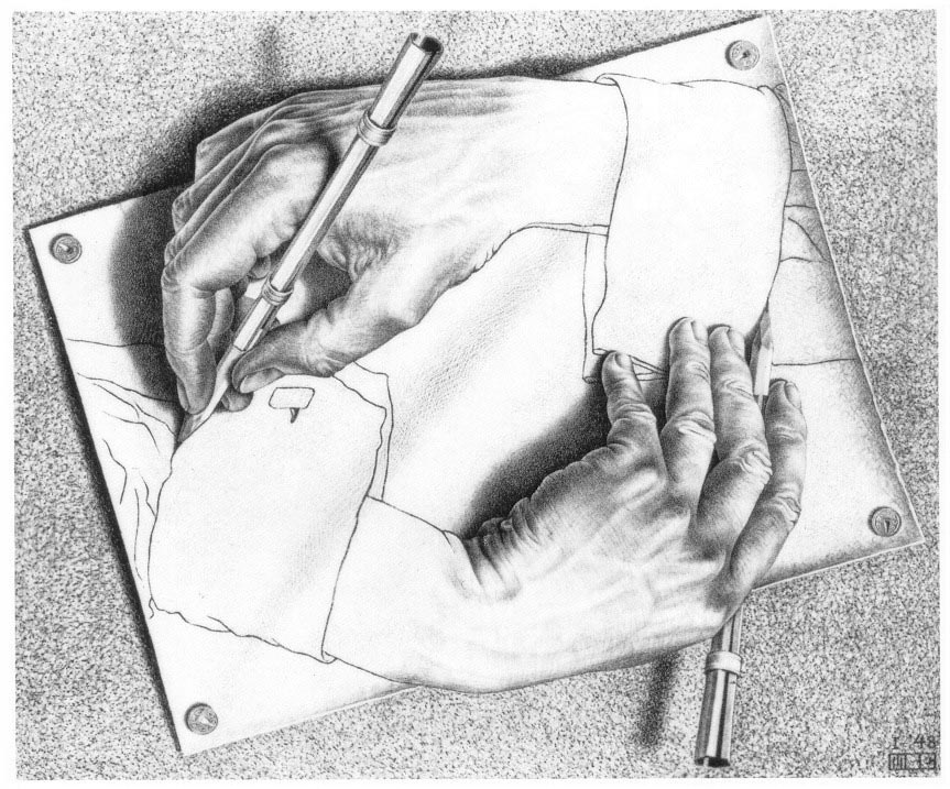MC Escher hand drawing itself