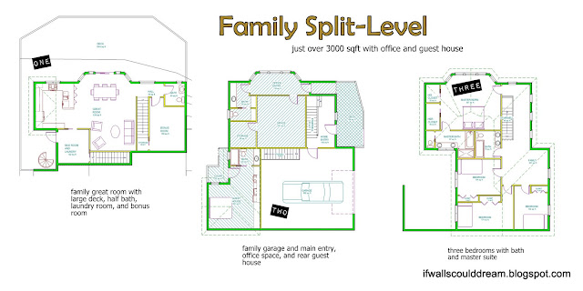 Family split level for House plans with separate office entrance