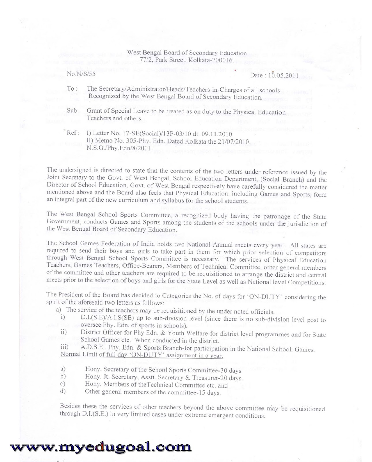 grant of special leave to be treated as on duty to the physical grant of special leave to be treated as on duty to the physical education teachers and