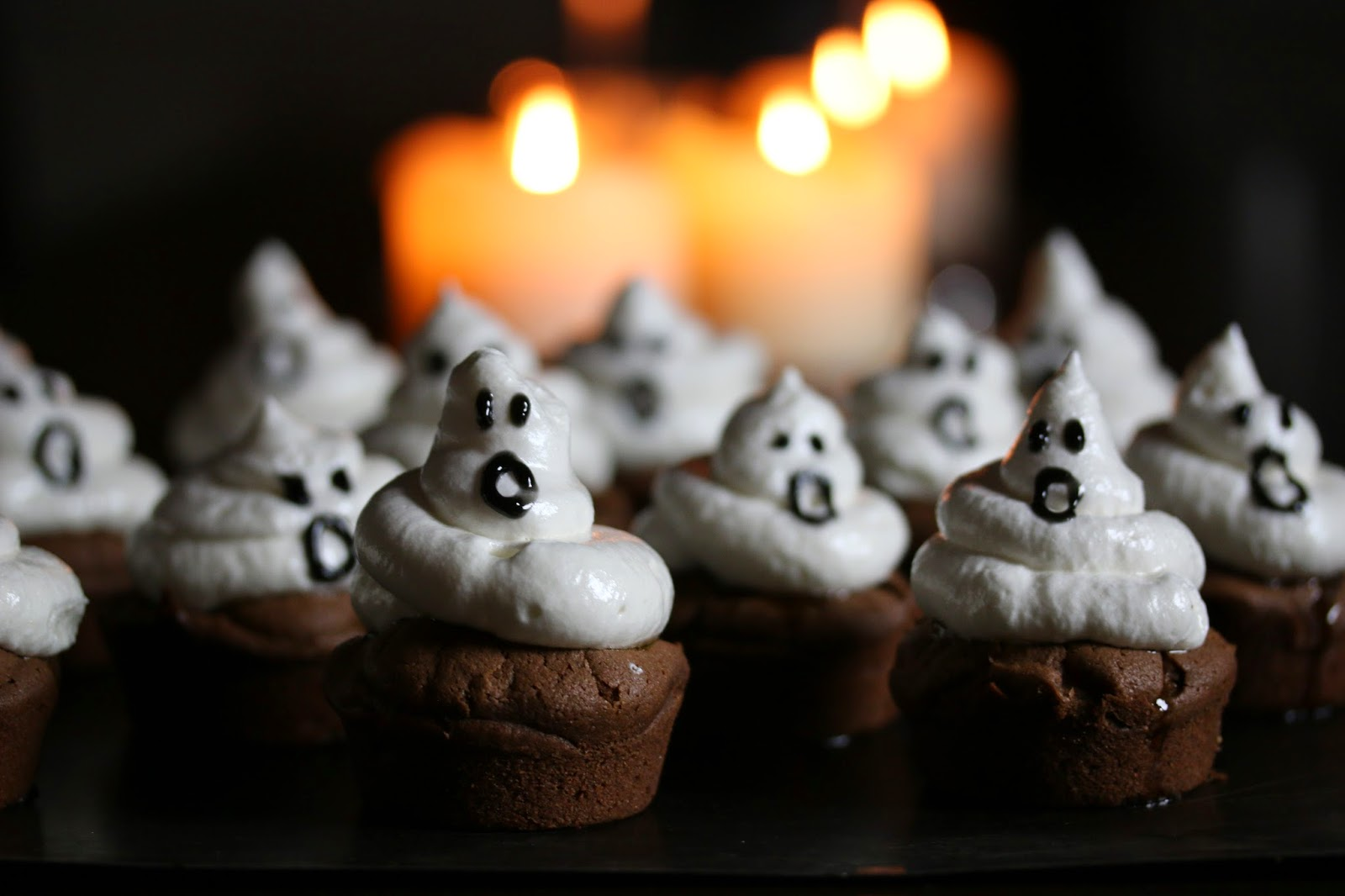 Casper's Uncles Ghost Cupcakes (Gluten Free Chocolate and Egg White Icing)