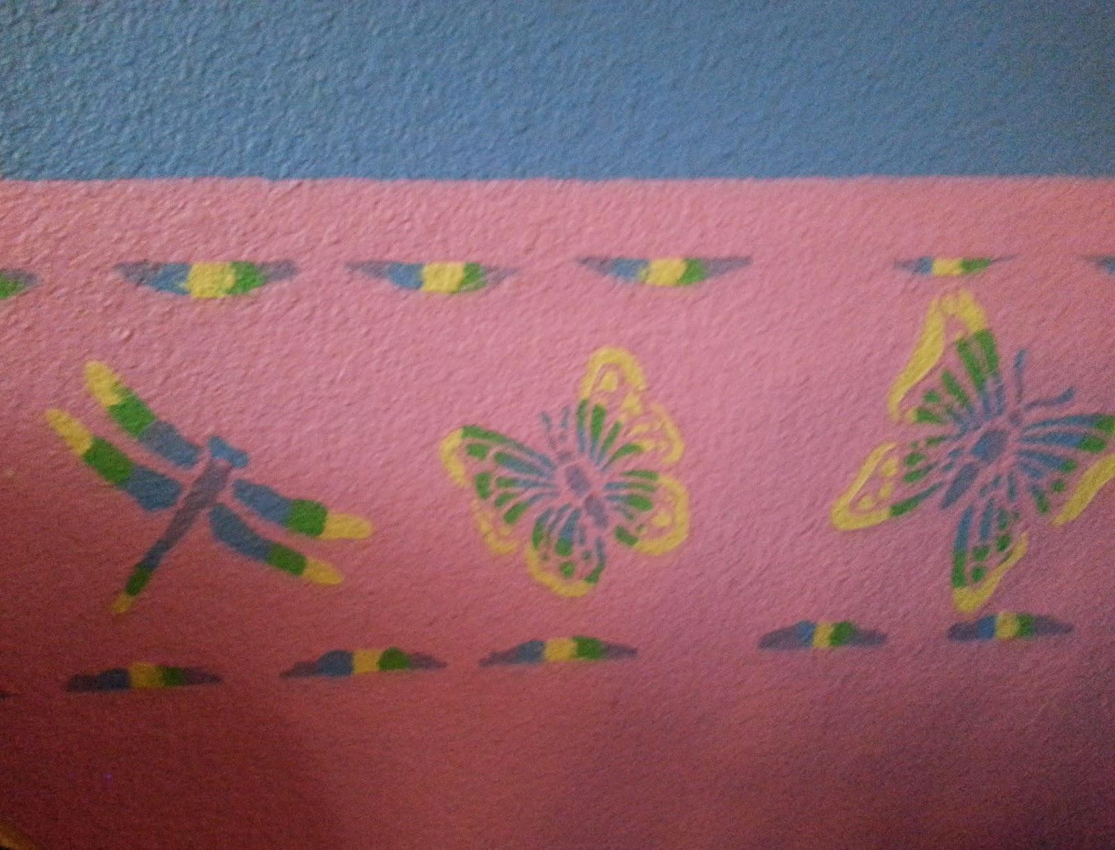 colorful girl wall border stencil