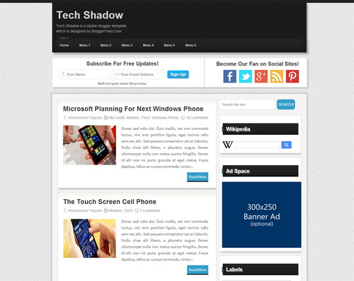 Tech Shadow Free Simple Blogger Template Download 2016 [Mastemplate.com]
