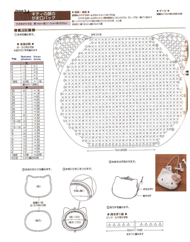 Bolsa Gatinha Branca De Croche Com Grafico