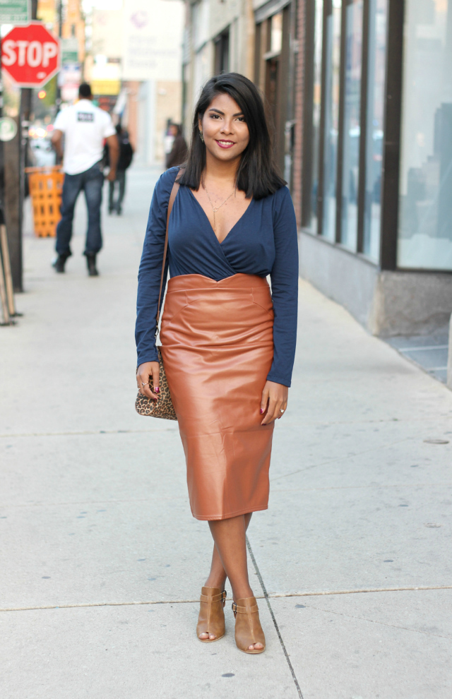 The Leather Midi Skirt