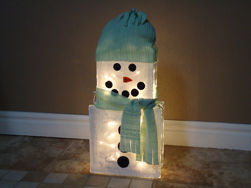 Cobblestones ivy 1 sweater 3 crafts glass block snowman for Glass block for crafts