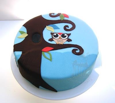 eule torte owl cake fondant