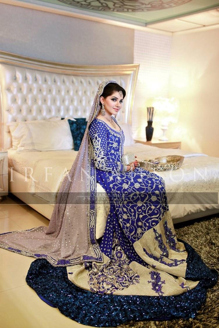 Wedding dresses   karachi : Top blue pakistani bridal dress just
