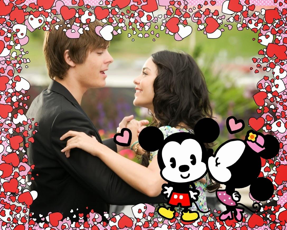 Como Editar mis Fotos: Marco Romántico de Mickey y Minnie Mouse