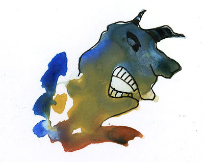 watercolor ink blot monster drawing