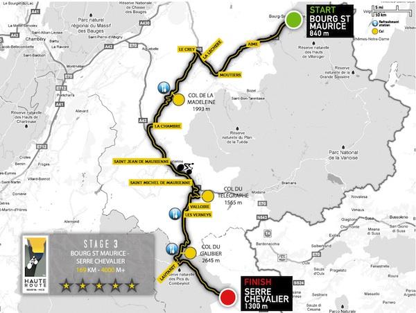 carte de l'étape 3 de la haute route