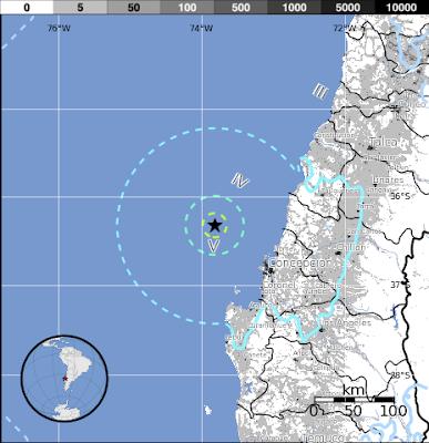 Epicentro sismo Chile 6,4 grados 19 de Junio 2015