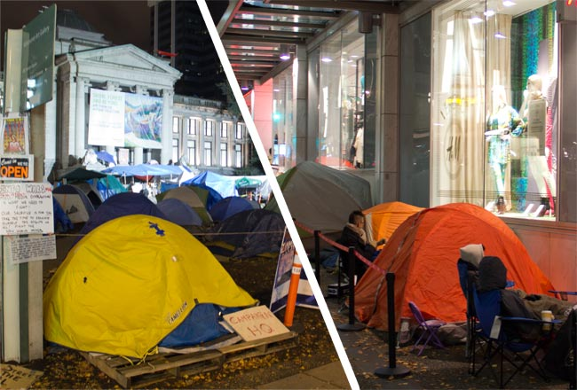 Occupy Vancouver, Tent City, Line-up for Versace for H&M, Versace for H&M, Versace, H&M