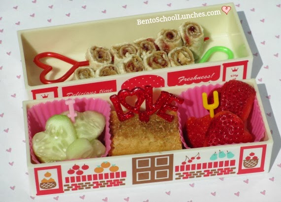 Simple roll ups with love, bento school lunches, valentines lunch