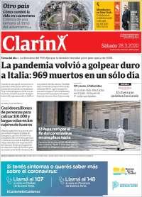 28/03/2020    UNA  PRIMERA PÁGINA DE LA PRENSA ARGENTINA