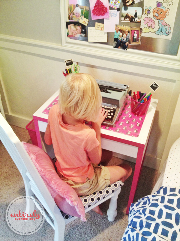 awesome desk ideas for kids and this desk pad is super cute and easy to make! entirelyeventfulday.com