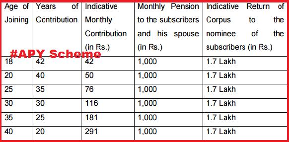 Atal Pension Yojana-APY Scheme/Plan, Premium Calculation ...