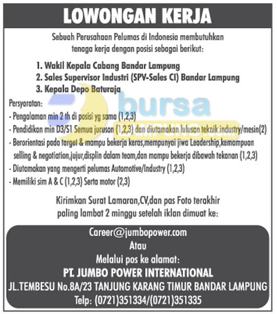 Lowongan Kerja Lampung Minggu 05 Oktober 2014 di PT. Jumbo Power International