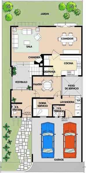 Plano de casa de 10 x 20 metros for Casa de planta baja