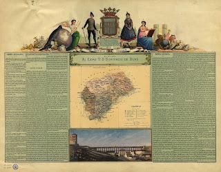 Escudo de la provincia flanqueado por una pareja con traje regional, y por las alegorías de la geografía y de la historia