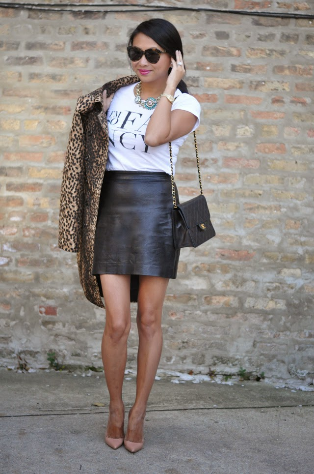 Graphic Tee, Faux lather skirt, louboutin pumps
