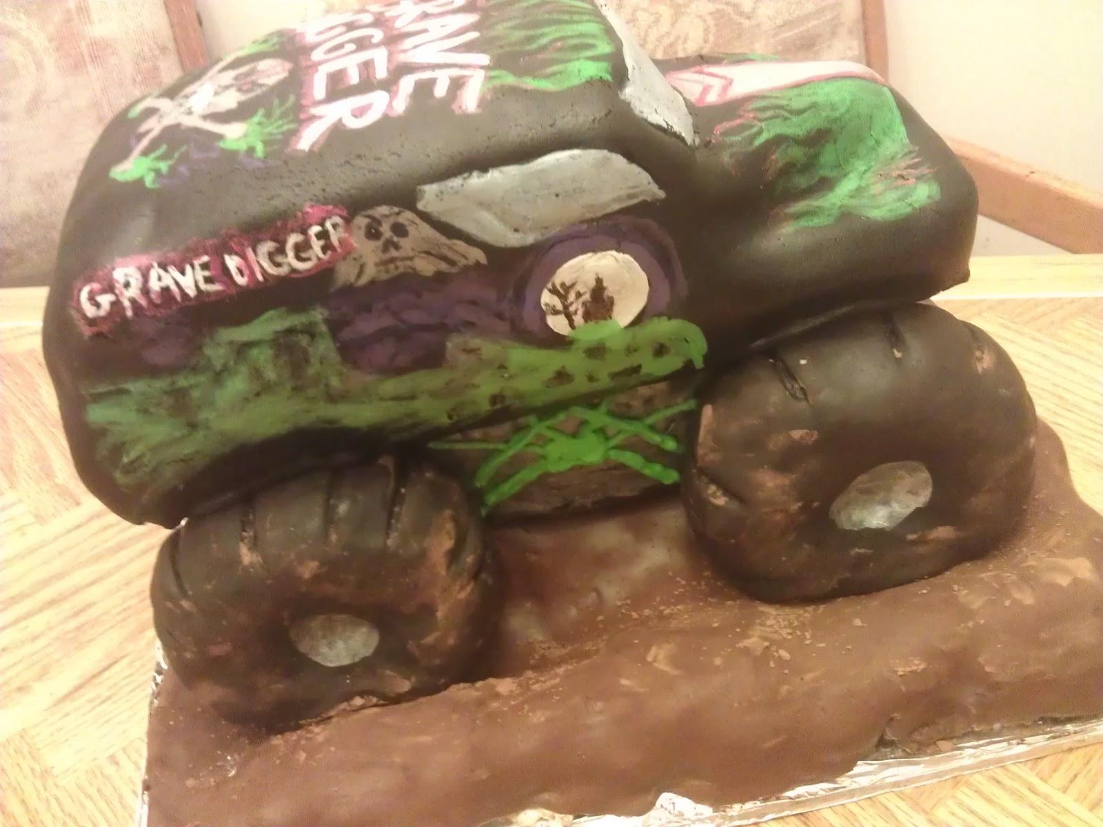 Live Free Gluten Free Gravedigger Monster Truck Birthday Cake