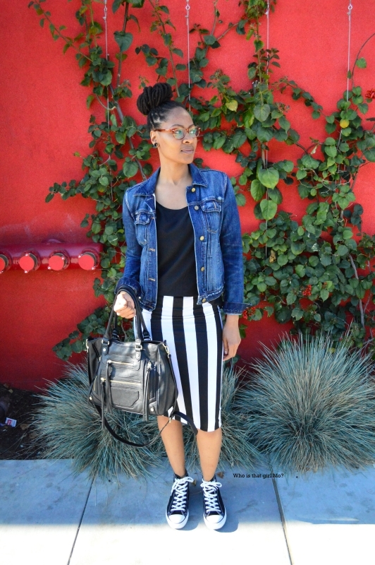 Striped pencil skirt pose1 {who is that girl mo?}