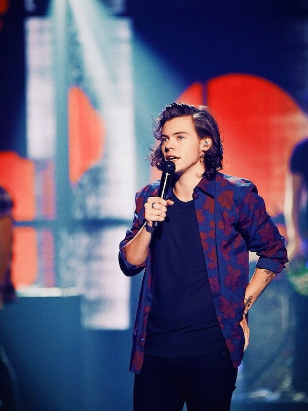 Harry Styles from One Direction wears Burberry Prorsum Fall Winter 2014 leaves print silk cotton shirt at 2014 iHeartRadio Music Festival