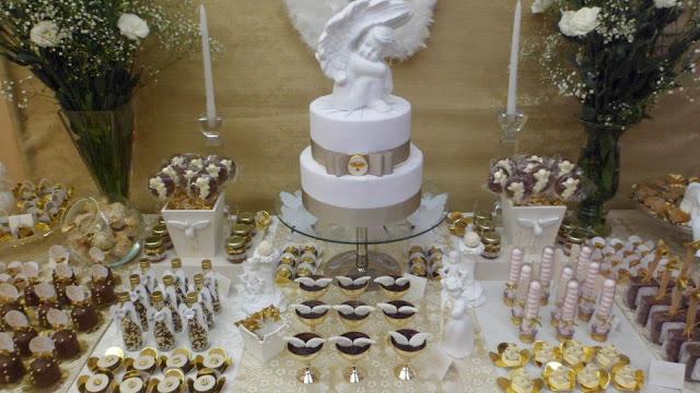 decoração de batizado anjos e Tildas