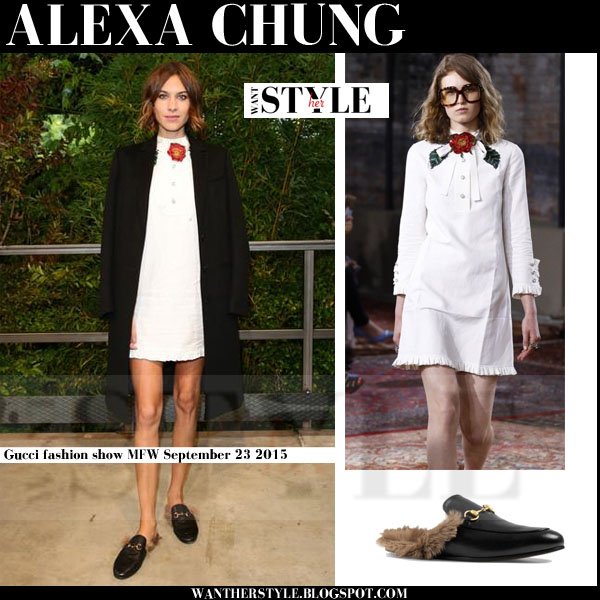 Alexa Chung in white mini Gucci dress, black coat and black fur detail Gucci slippers mfw front row 2015
