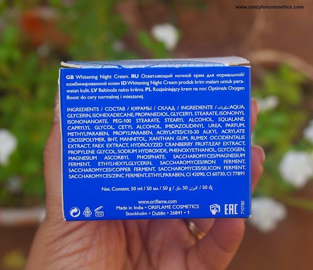 Oriflame Optimals White Oxygen Boost Night Cream review