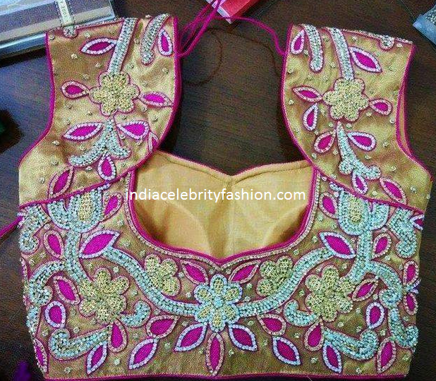 Maggam Work Gold Blouse Design