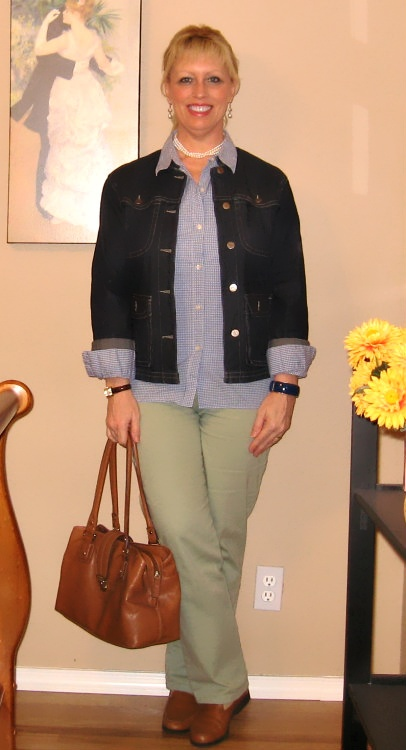 jean jacket gingham shirt