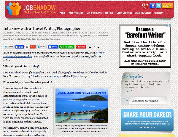 Interview with Travel Writer, Travel Photographer, Jerome Shaw on Job Shadow