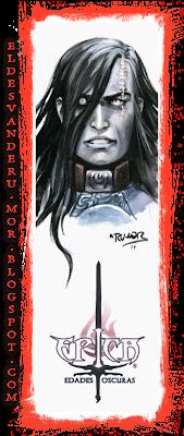 Acuarela (marcapáginas) del personaje Rakakull del juego de cartas ÉPICA: Edades Oscuras realizado por ªRU-MOR. Fantasía medieval