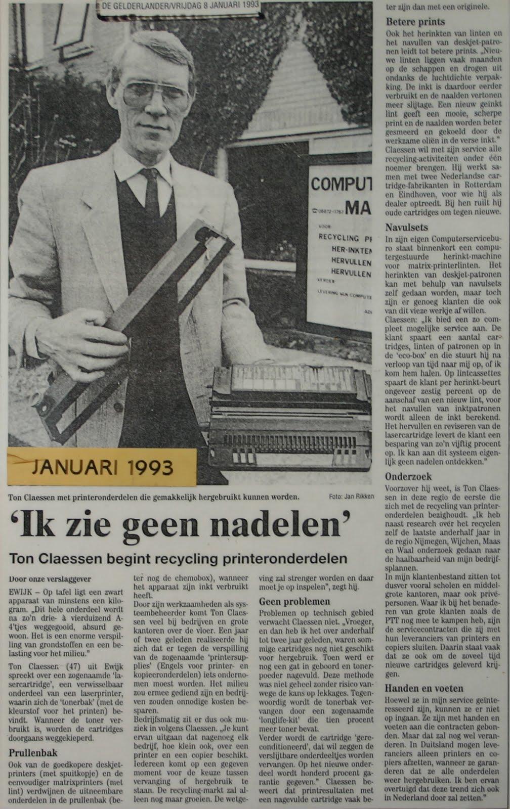 Artikel Gelderlander, 8-1-1993.
