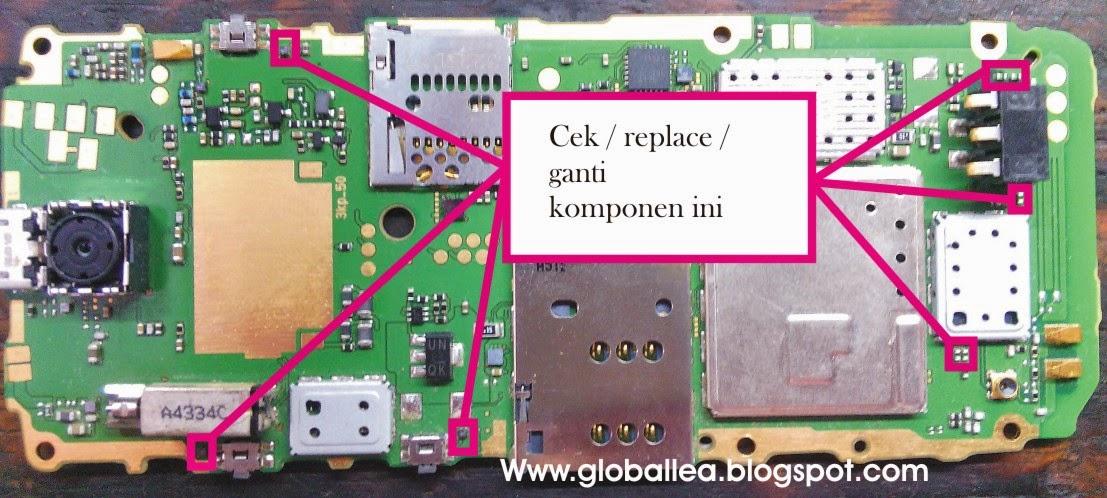Periksa komponen seperti pada gambar dibawah ini, rehot atau replace