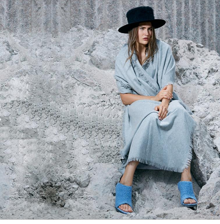 Tibi look book, powder blue blanket dress and mules