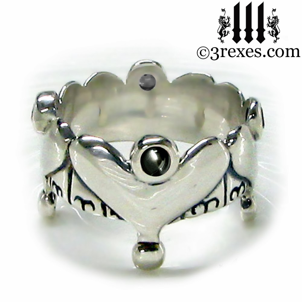 Black silver Wedding Crown Royal Heart Ring Gothic Engagement Band