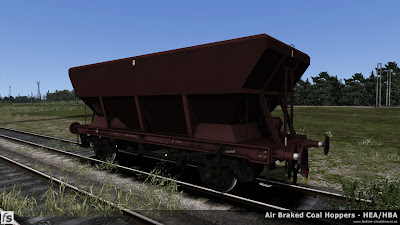 Fastline Simulation - HBA/HEA Coal Hoppers: An HEA hopper resprung from an early HBA hopper with central ladder and small supports at the hopper corners in plain maroon livery.