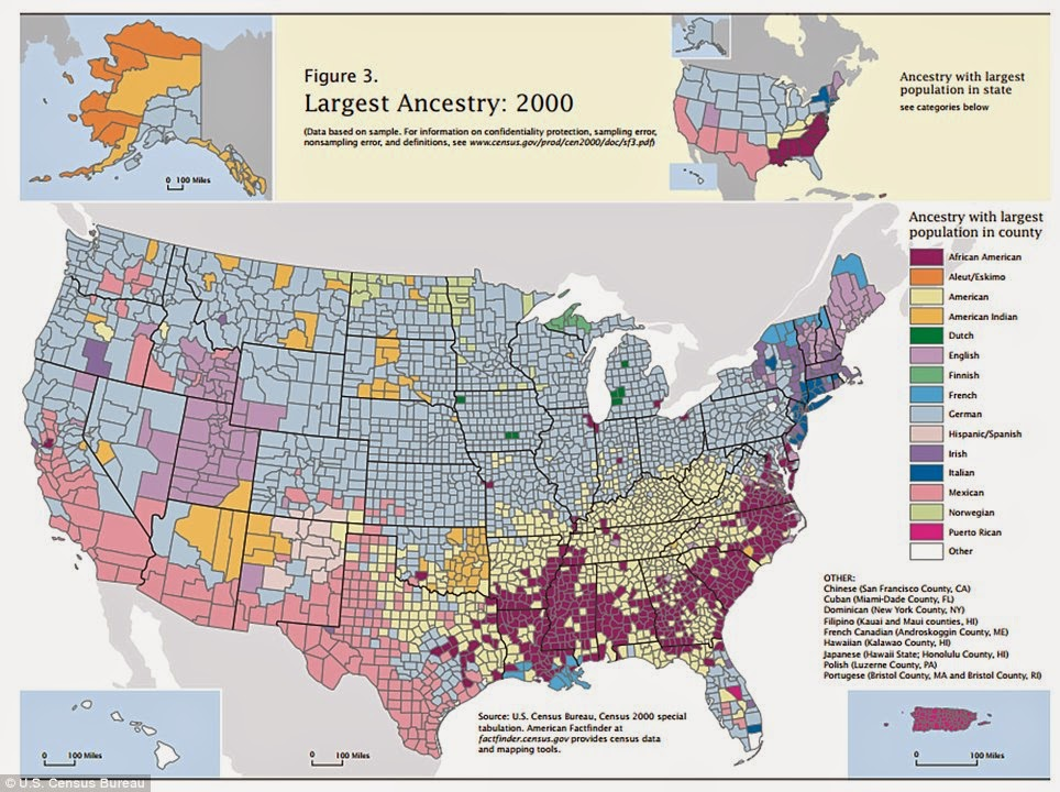 the map below shows the largest claimed ancestry in us counties in the 2000 census unfortunately for future genealogists that data was not collected in