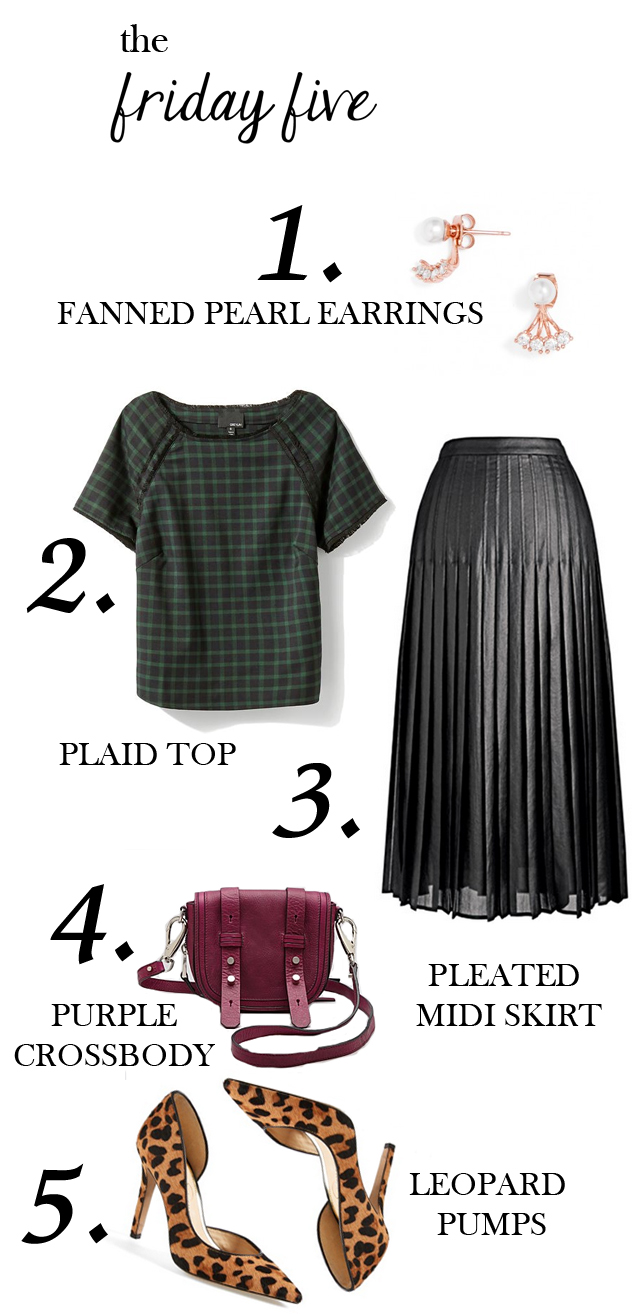 the friday five: pearl fanned earrings, greylin plaid top, black faux leather midi skirt, purple crossbody bag, leopard pumps, via M Loves M @marmar