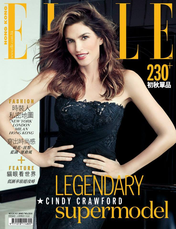 Cindy Crawford sizzles in a strapless dress for Elle Hong Kong August 2015