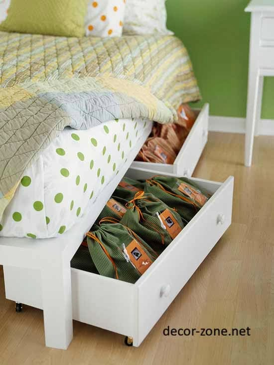 storage cupboards under the bed, bedroom storage ideas