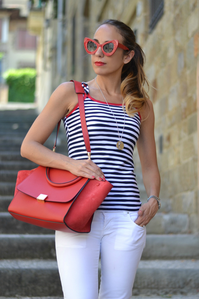 red oversize sunglasses